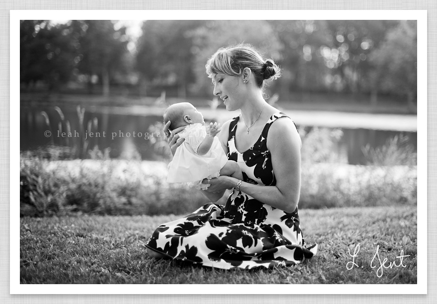 black and white newborn and mom portrait