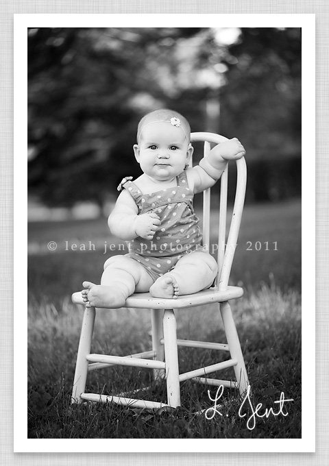 six month old sitting on a chair